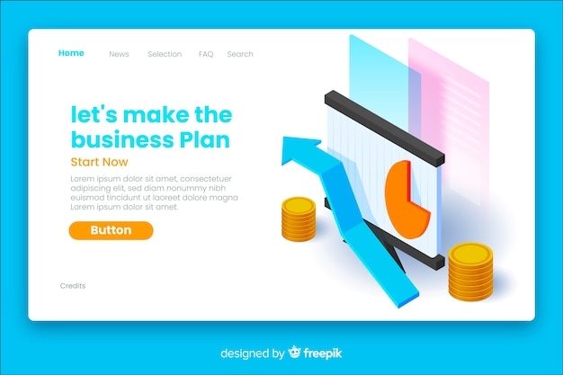 Business plan isometric landing page Free Vector