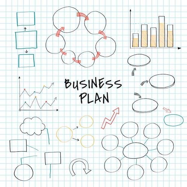 Business plan set with chart and graph vector Free Vector