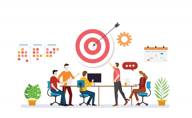 Business plan target with team discussion to achieve target goals with to do list task Premium Vector