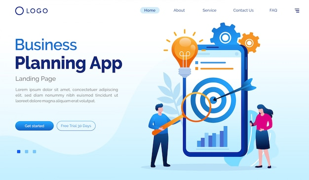 Business planning app landing page website flat illustration vector template Premium Vector