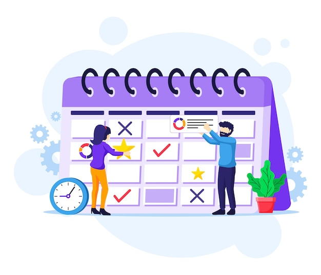 Концепция бизнес-планирования, люди заполняют график на гигантском календаре, иллюстрация незавершенной работы Premium векторы