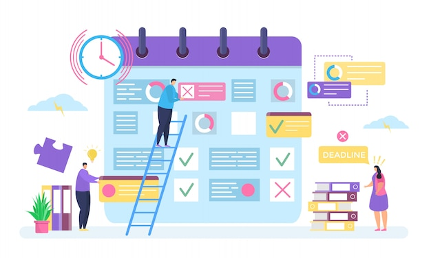 Premium Vector | Business planning, deadline concept illustration, cartoon  tiny people work, employee characters make plan business task in organizer