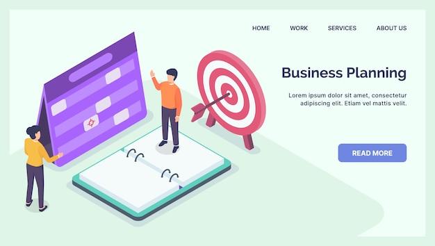 モダンなアイソメフラットとウェブサイトテンプレートランディングホームページの事業計画ディスカッションコンセプト Premiumベクター