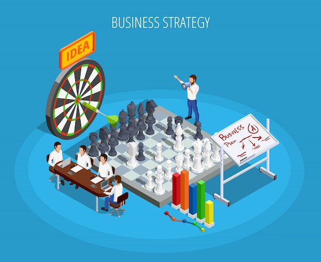 Business planning isometric template Free Vector