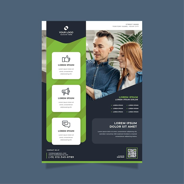 Business poster print template Free Vector