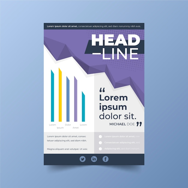 헤드 라인 및 차트 사업 포스터 템플릿 프리미엄 벡터
