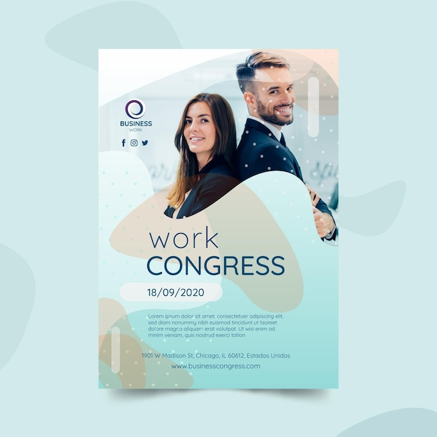 Business poster template with photo Free Vector