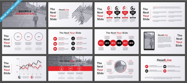 Business powerpoint presentation slides templates from infographic elements. Premium Vector