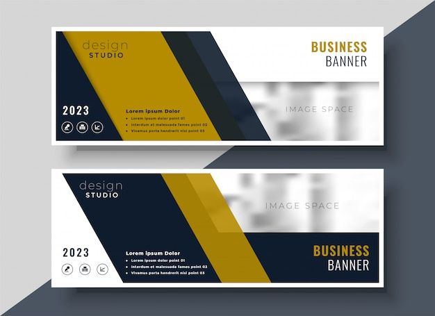 Business presentation banner design in geometric shape Free Vector