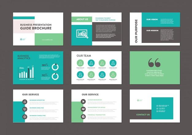 ビジネスプレゼンテーションパンフレットガイドテンプレート Premiumベクター