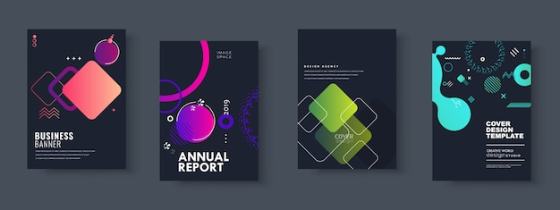 Business presentation, corporate document cover and layout template designs Premium Vector