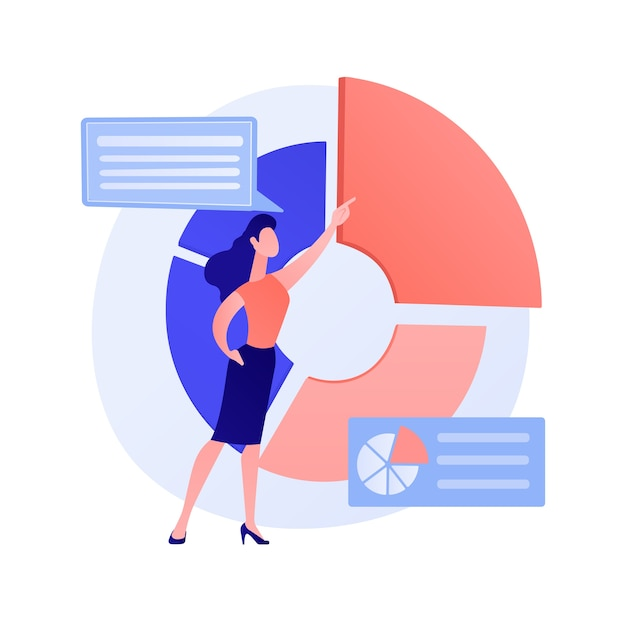 Business presentation. data analytics, pie chart, infographics visualization. report analyzing. businessman character analyzing statistics concept illustration Free Vector
