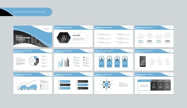 비즈니스 연례 보고서를위한 비즈니스 프레젠테이션 디자인 템플릿 및 페이지 레이아웃 디자인 프리미엄 벡터