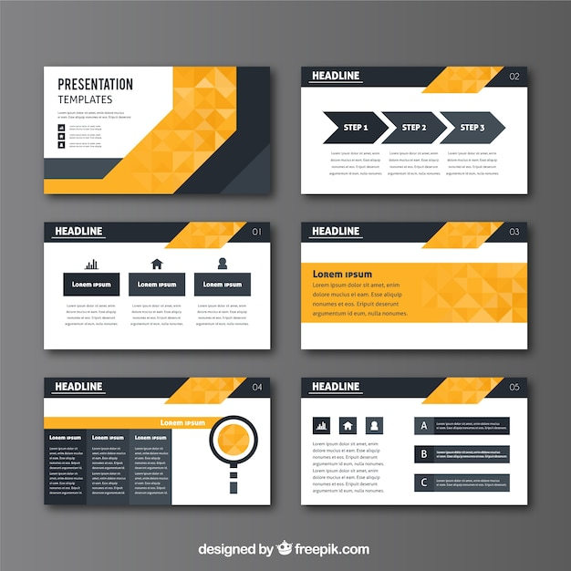Business presentation in geometric style Free Vector