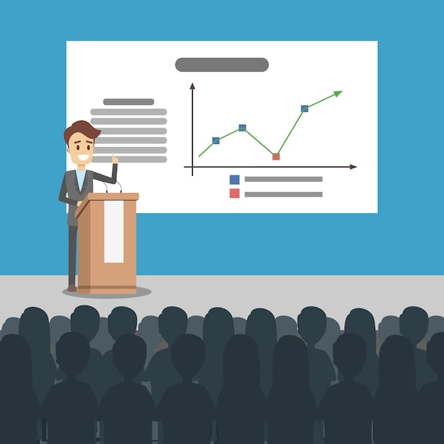 Business presentation illustration. man presenting with board. Premium Vector