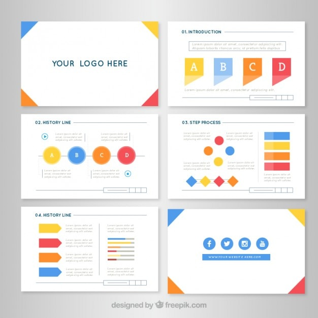 Business Presentation In Flat Design Vector  Premium Download