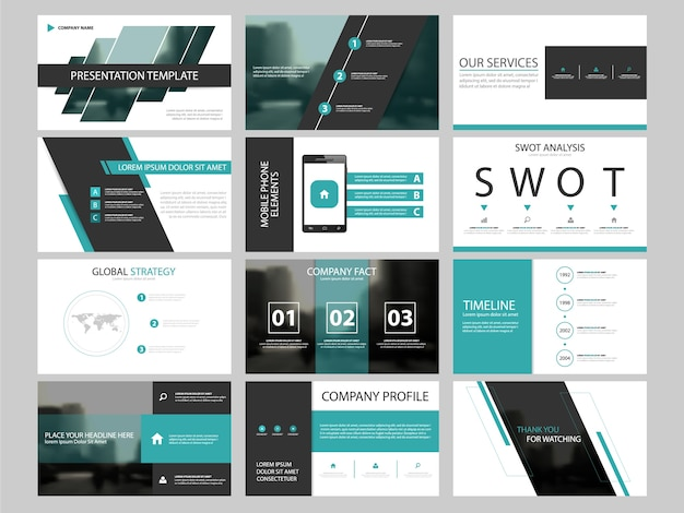 horizontal brochure template - business presentation infographic elements template set