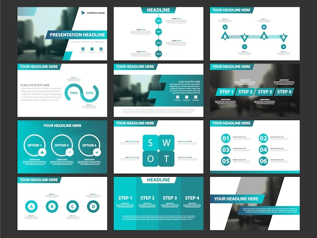Business Presentation Infographic Elements Template Set, Annual Report  Corporate Horizontal Brochure Design Template Premium Vector