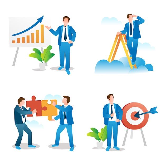 ビジネスプレゼンテーション、リーダーシップのビジョン、チームワーク、目標設定のコンセプトコレクション Premiumベクター