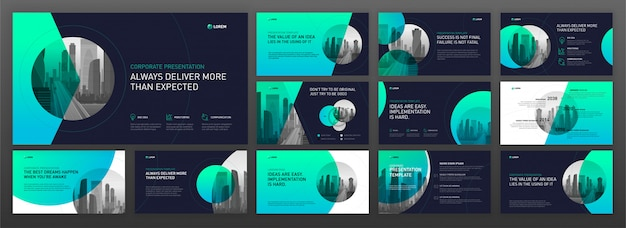 Business Presentation Powerpoint Templates Set Vector