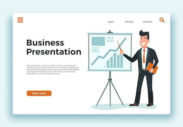 Business presentation. presenter businessman, growing schedule chart and happy worker landing page cartoon vector illustration Premium Vector