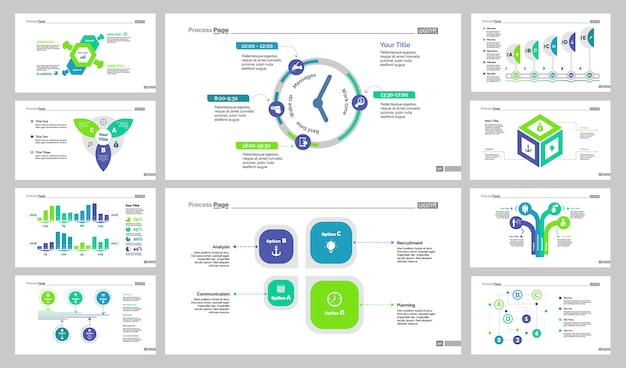 business presentation slide design set vector free download