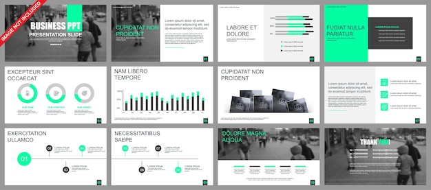 Business presentation slides templates from infographic elements Premium Vector