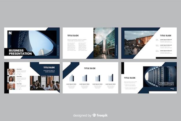 Diapositive di presentazione aziendale con foto Vettore gratuito