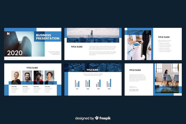 Business presentation slides with photo Free Vector
