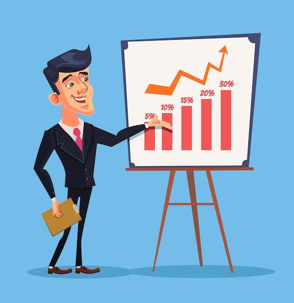 Деловая презентация. успешный бизнесмен характер. бизнес обучение Premium векторы