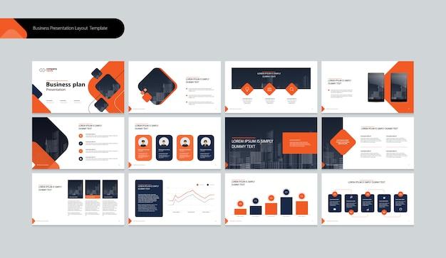 비즈니스 연례 보고서를위한 비즈니스 프리젠 테이션 템플릿 및 페이지 레이아웃 디자인 프리미엄 벡터
