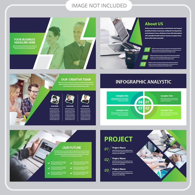 Business presentation template in flat style Premium Vector