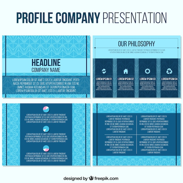 Business Presentation Template In Blue Tones Vector  Free Download