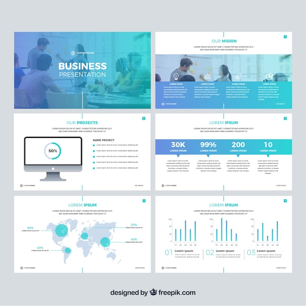 Business presentation template in flat style Free Vector
