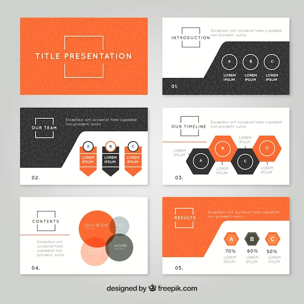 business presentation template in flat style vector free download