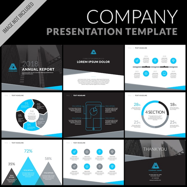 business presentation template set vector | free download, Powerpoint templates