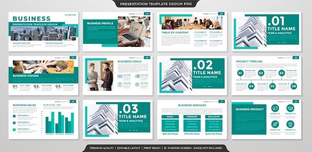 Шаблон бизнес-презентации в чистом стиле Premium векторы
