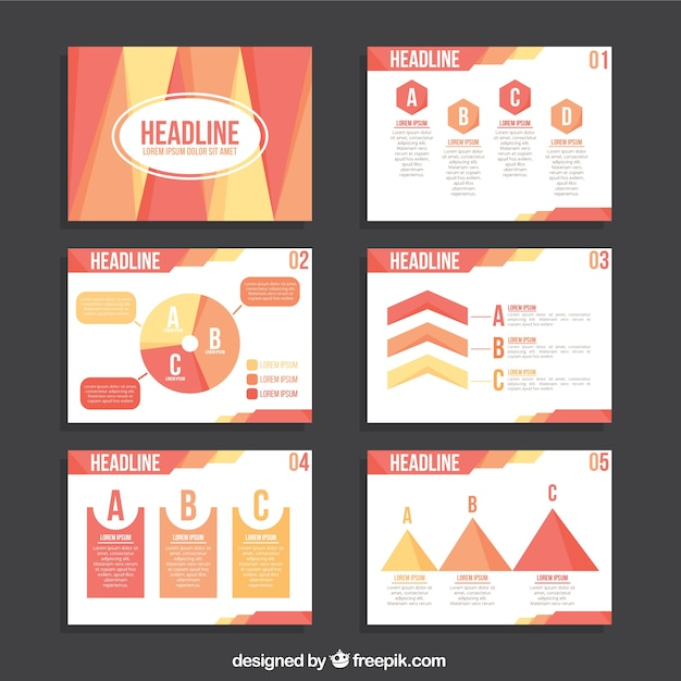 Business Presentation Template With Infographic Elements In Pastel