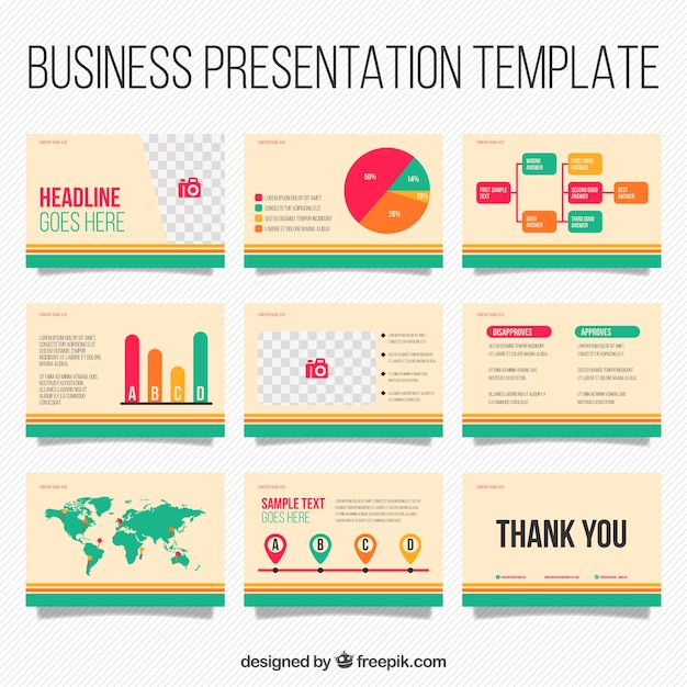 Business Presentation Template With Infographic Elements Free Vector