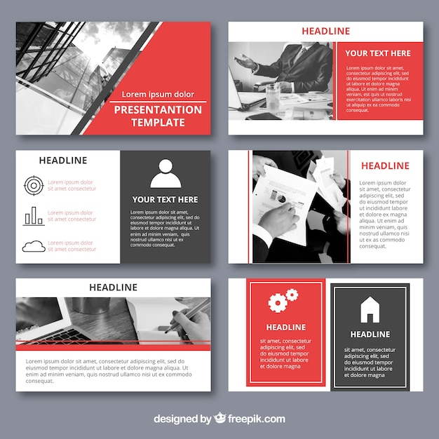 Business presentation template with photo Free Vector