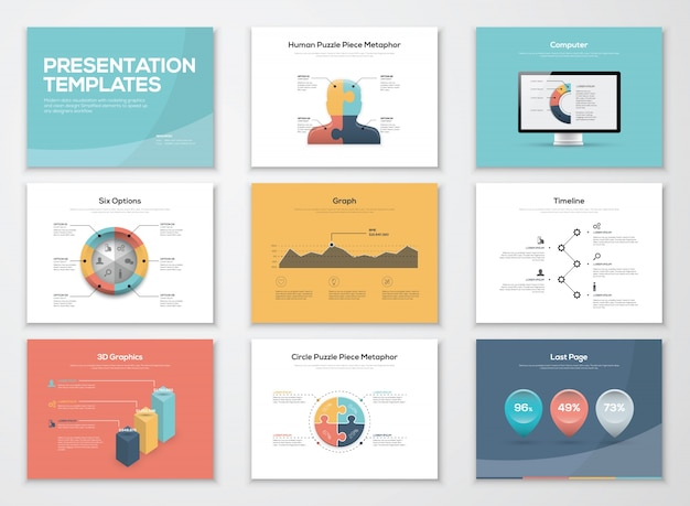 Business presentation templates and infographics vector elements Premium Vector