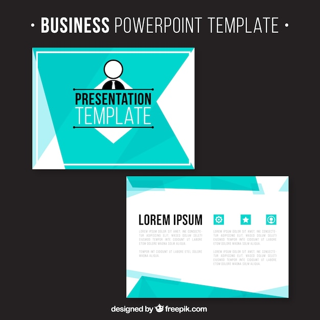 Business presentation with blue shapes Free Vector