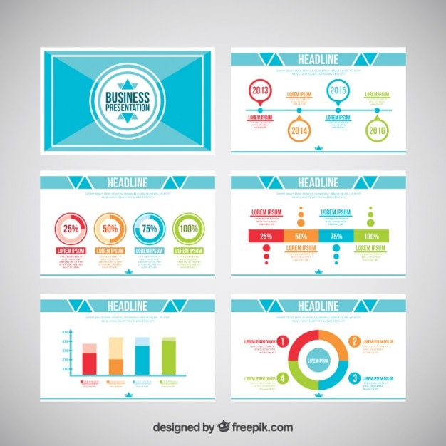 Business presentation with colored infographic elements Free Vector