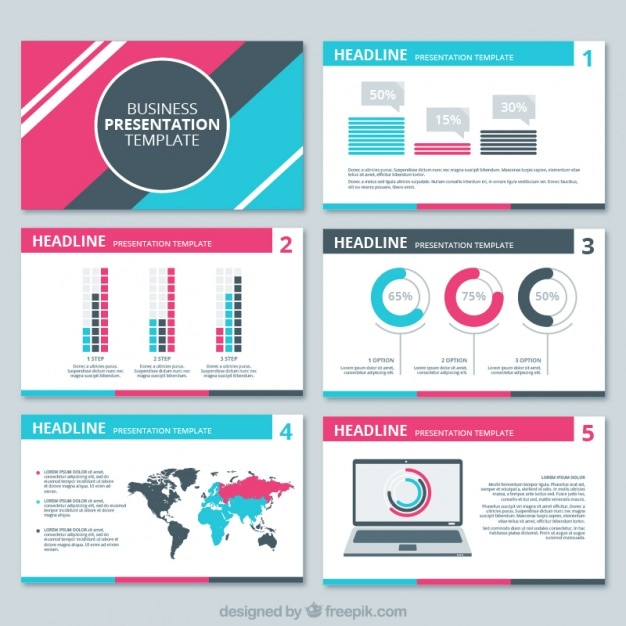 Business presentation with pink and blue details Free Vector