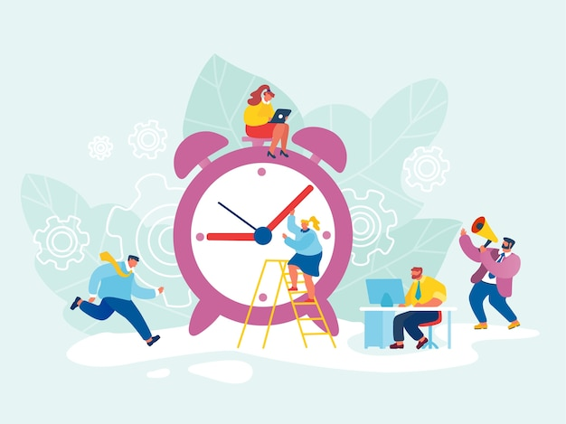 Бизнес-процесс и концепция управления временем Premium векторы