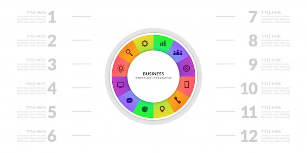 Business process chart graphic with multiple step segment, colorful cycle infographic elements Premium Vector