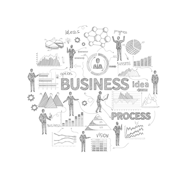 Business process concept with sketch personnel and finance report charts Free Vector