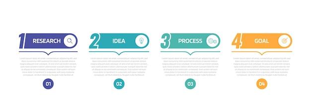 Инфографический шаблон бизнес-процесса с вариантами или шагами. иллюстрация графика. Premium векторы
