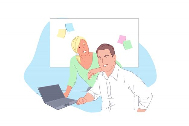 ビジネスプロジェクトの開発、スタッフの協力、パートナーシップ、チームワークの概念 Premiumベクター