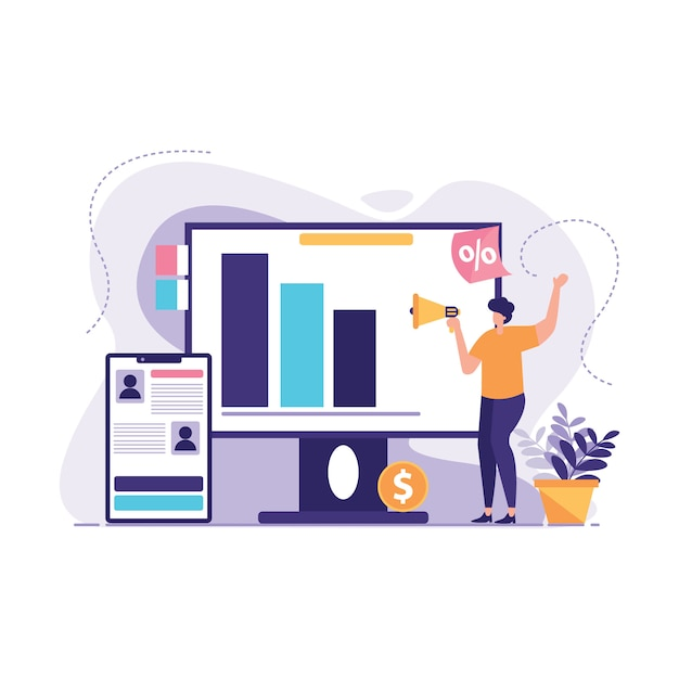 Business promotion advertising illustration Premium Vector